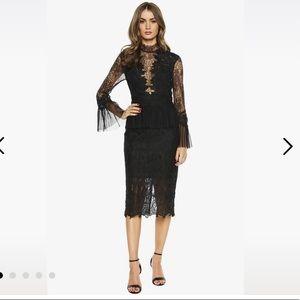 Bardot black lace mock neck dress